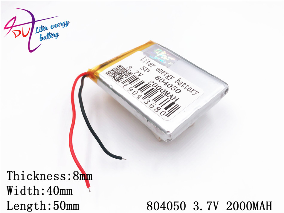 1 Stücke 3,7 V, 2000 Mah 804050 Polymer Lithium-ion/li-ion Batterie Für Modell Flugzeug, Gps, Mp3, Mp4, Handy, Lautsprecher, Bluetooth