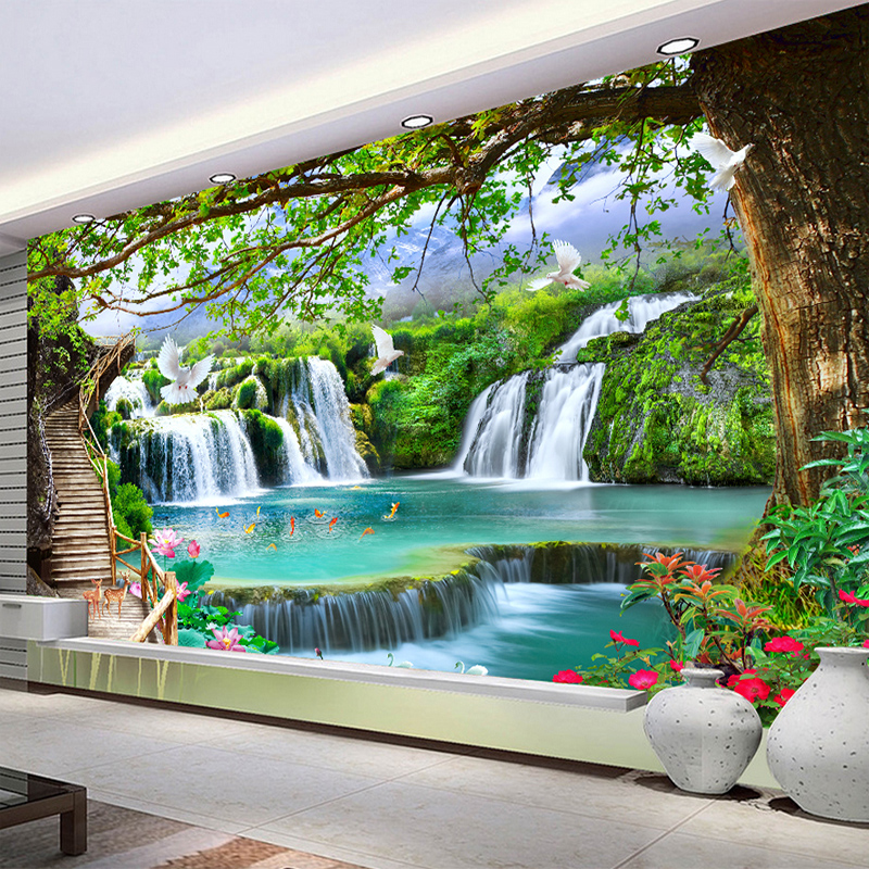Any Size Green Forest Waterfall Nature Landscape 3D Mural Wallpaper Living Room Bedroom Photo Wall Paper Papel De Parede