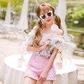 Princesa lolita doce camisa Doces chuva refrescante estilo Japonês de verão chiffon princesa babados camisas com renda superior C16AB6107
