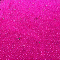 2016 Latest Fushia Pink African French Lace Fabric High Quality African Tulle Lace With Stones Beads
