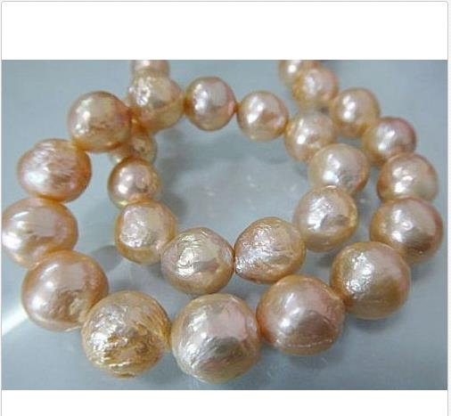 GORGEOUS 13-14MM SOUTH SEA BAROQUE GOLD PINK PEARL NECKLACE 18GORGEOUS 13-14MM SOUTH SEA BAROQUE GOLD PINK PEARL NECKLACE 18