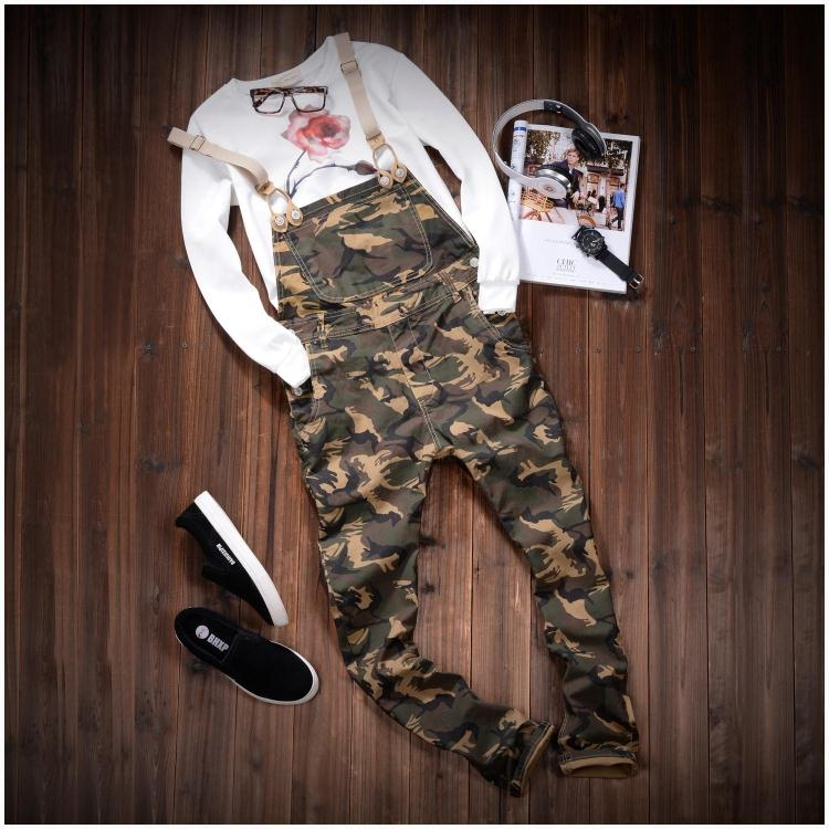 2016 Autum Mens Fashion Army Green Camouflage Slim Straight Stretched Twill Bib Overalls Casual Pants Denim Jumpsuits Jeans 290