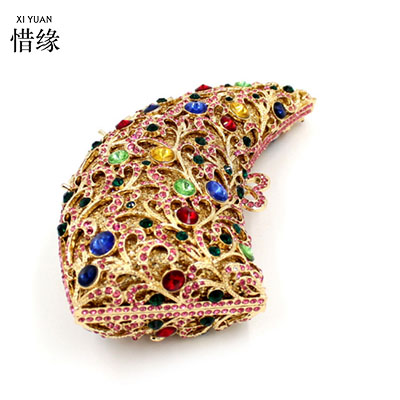XIYUAN BRAND 2017 LUXURY Metal Flower Crystal Evening Bag Clutch Bags Clutches Wedding Purse Rhinestones Wedding Handbags Silver gold plating floral flower hollow out dazzling crystal women bag luxury brand clutches diamonds wedding evening clutch purse