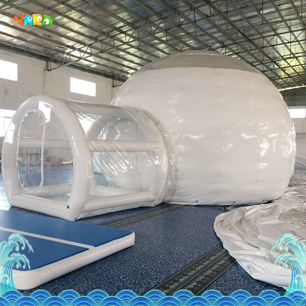 Inflatable Tent with blower for children funny outdoors park indoor PVC white play house bubble tent commercial with toilet children shark blue inflatable water slide with blower for pool