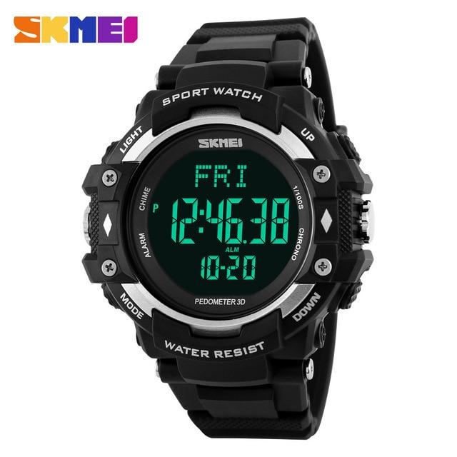 SKMEI Brand Men's 3D Pedometer Heart Rate Monitor Calories Tracker Digital Watch Man Outdoor Sports Watches Men PU strap Clock