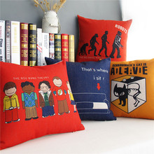 Linen Cushion Cover Home Decorative Nordic Simple modern People Solid color pattern Pillow Case Sofa Chair Waist Pillow cover