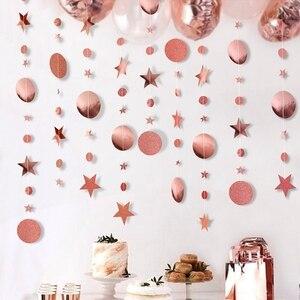 Image 3 - 4メートルミラー紙スターラウンドゴールド花輪フラッシュバナ誕生日結婚式のパーティーの好意ベビーシャワーカーテン装飾用品