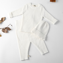 3pcs/set Autumn Winter Baby Girl Clothes Knit Ribbed Sweater Boys Sweaters Pants Hats Bottoming Shirt Childrens Clothing 0-3Y