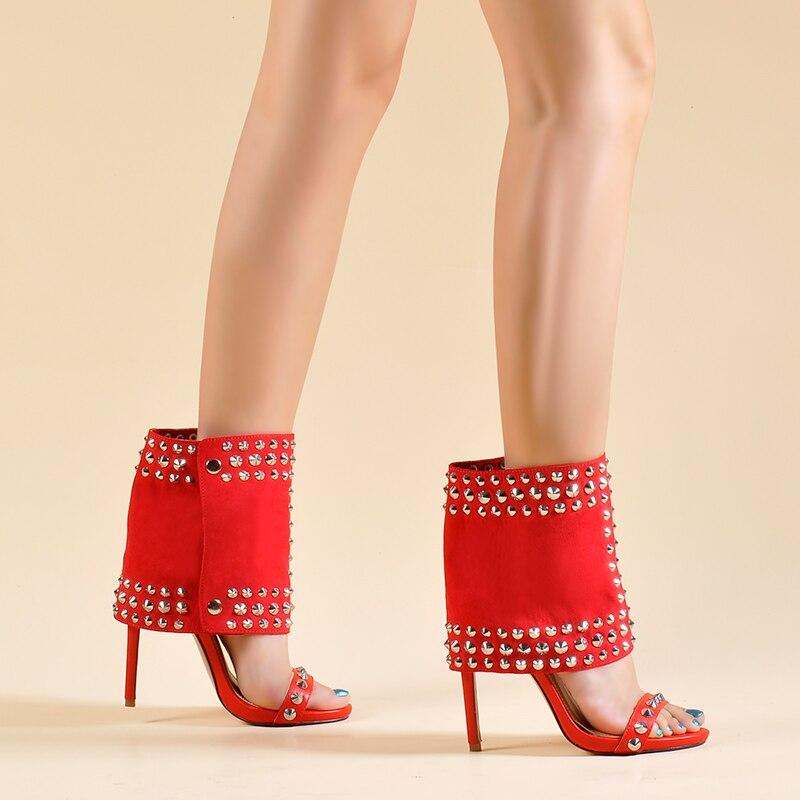 Обувь с розовыми ладонями; женские босоножки; комплект из двух предметов; Модные женские ботильоны на высоком каблуке с заклепками; Лидер пр... - 6