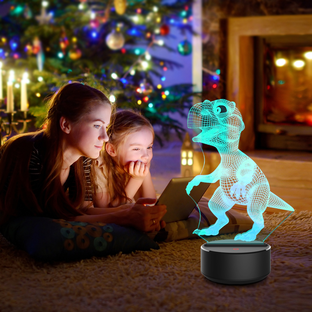 Dinosaur Shape 3D Illusion Lamp 7 Color Change Touch Switch LED Night Light Acrylic Desk lamp Atmosphere Lamp Novelty Lighting in LED Night Lights from Lights Lighting