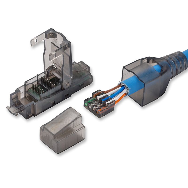 RJ45 Cat.6 UTP Field Connector Modular Plug Free Of Crimping Design - Compatible With Cat.5e/6/6A 23AWG-24AWG Installation Cable