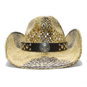 004fc7c513e98 LUCKYLIANJI Women Men s Straw Cowboy Western Hat Leather