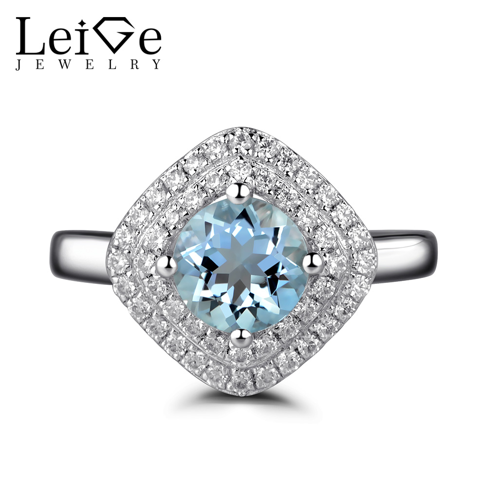 Leige Jewelry Double Halo Aquamarine Rings for Women Sterling Silver 925 Wedding Engagement Blue Gemstone Ring Round Cut