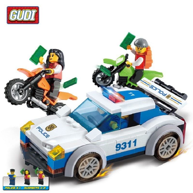 GUDI City Police series Building Blocks 158pcs Police Action Figure Bricks brinquedos playmobil Educational Toys for Children