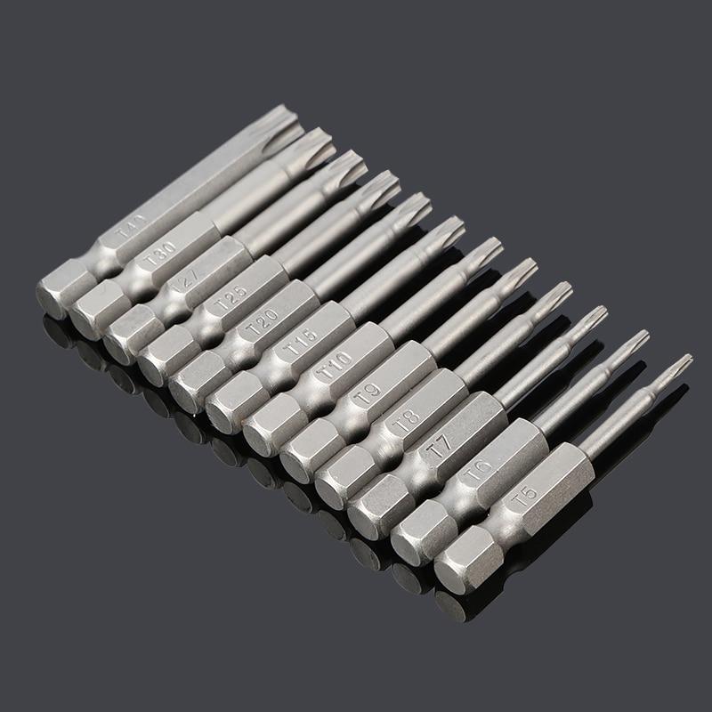 1 Sets Security TORX Screwdriver Bit Set Electric Screwdriver Air Bit Tools with Hole 1/4 Shank T8 T9 T10 T15 T20 T25 T30 T40