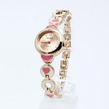 Promotion 2016 New Watch Women Fashion Crystal Diamond Bracelet Quartz Watches Band Ladies Love Heart Wristwatch Simple Design