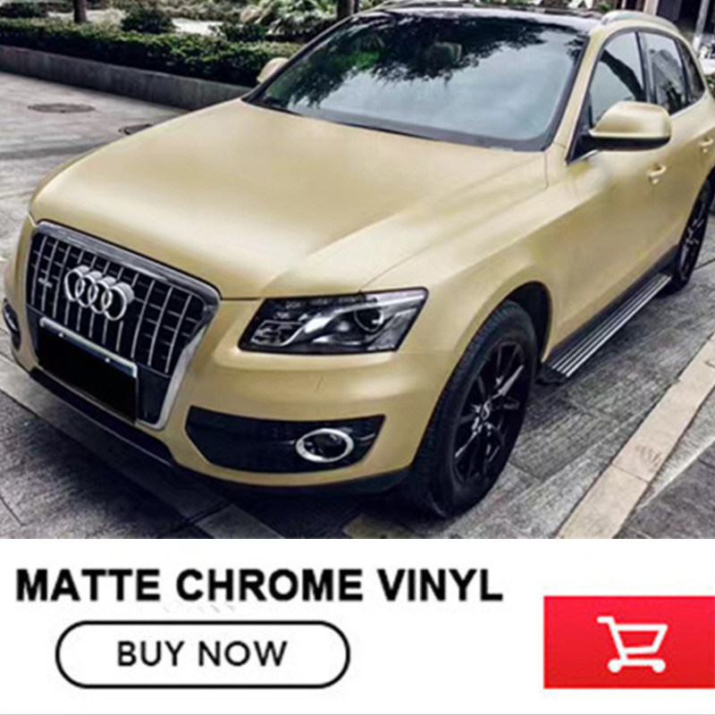 High Quality Matte Chrome Metallic Champagne Gold Vinyl Wrap Roll Bubble Free For Car Wrapping  free 2-7days Arrived anon маска сноубордическая anon somerset pellow gold chrome