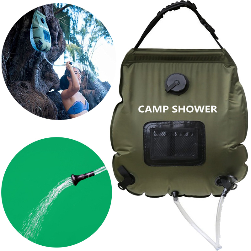 Us 17 79 50 Off 20l Camping Solar Shower Bag Portable Waterproof Dry Outdoor Hiking Energy Heated Camp Bags Water Basin In