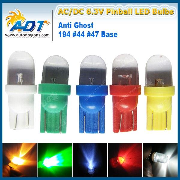 2017 hot new products Transparent 1 LED 6.3V AC/DC non flickering Pinball led lights #555 Wedge pinball led fantasma