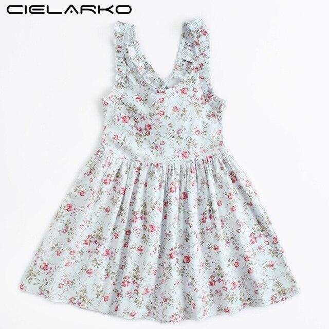fd9a6dbcd8c6 Cielarko Strap Girls Backless Dress 2018 Summer Girl Floral Print ...