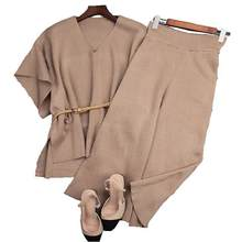 high quality women's spring atumn runway fashion oversize elegant batwing sleeve brown soldiers pants Twinset set