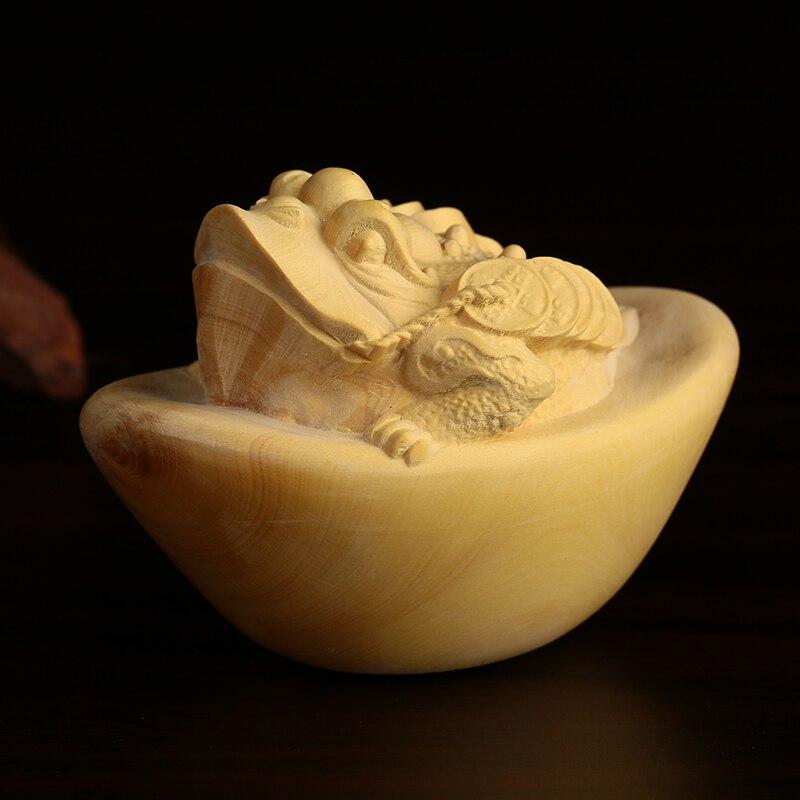 Украшения из розового дерева ручной работы boxwood резьба Будда труба жаба Золото Дерево Ручная работа аксессуары для автомобиля