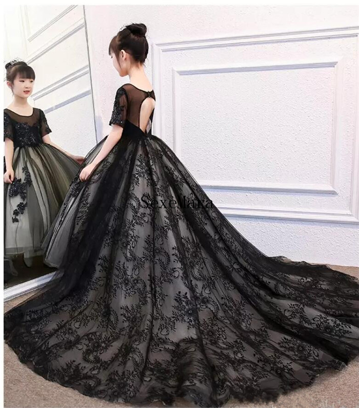 New Black Lace Girls Pageant Dresses Beaded High Low Dress For Special Occasion Jewel Neck Ankle Length Flower Girls Dresses mayoral футболка поло желтая
