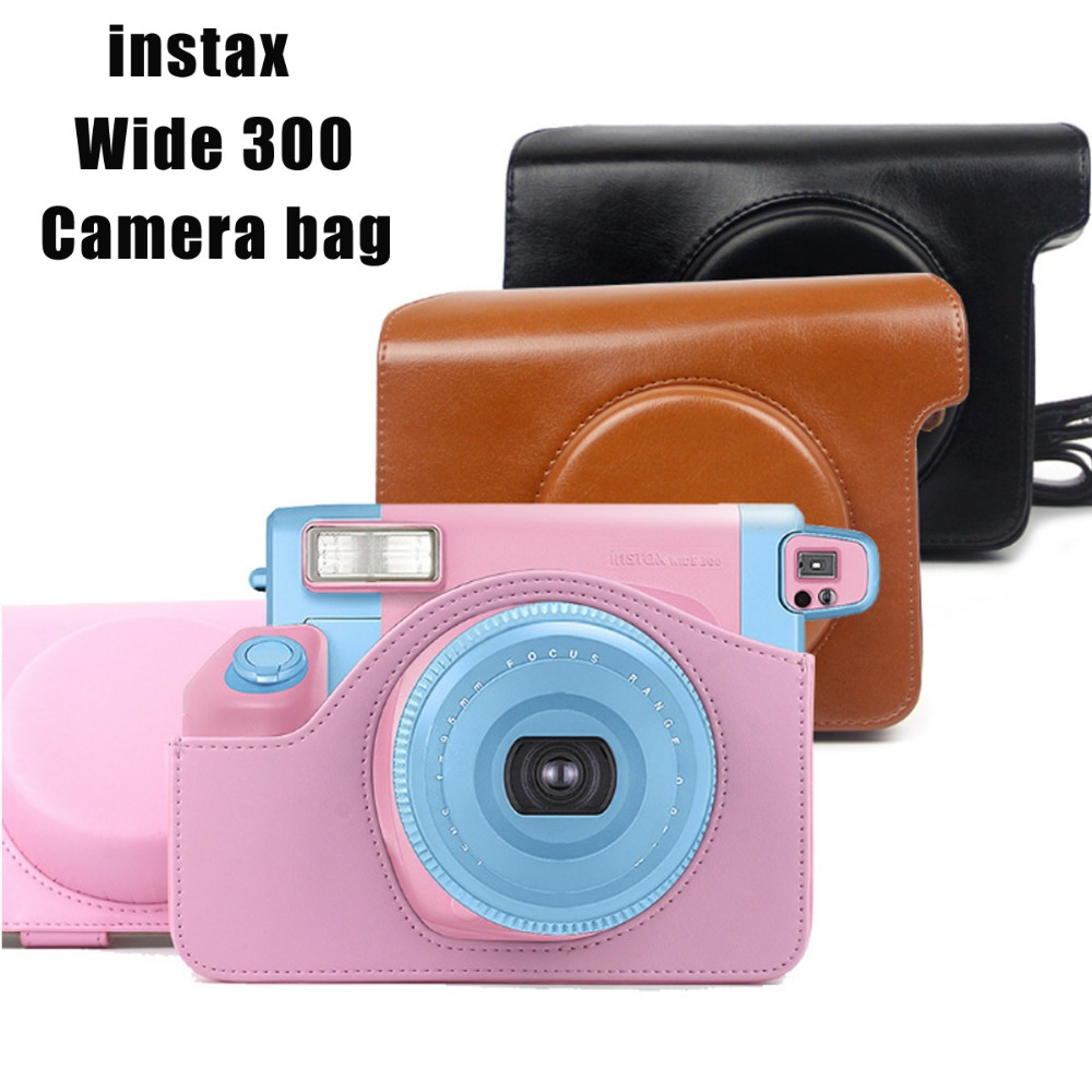 PU Leather Bag Case Cover Pouch Protector & Shoulder Strap for Fujifilm Instax Wide 300 Instant Print Camera
