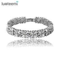 Women Bride Fashion Jewelry White Cubic Zirconia Radiation Shaped Flower Bracelets