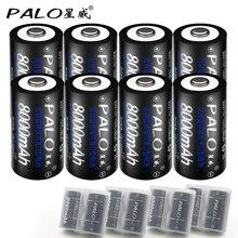 8 piezas * PALO 1,2 V 8000 mAh batería recargable baterías tamaño D Color negro NI-MH Pilas Recargables envío libre