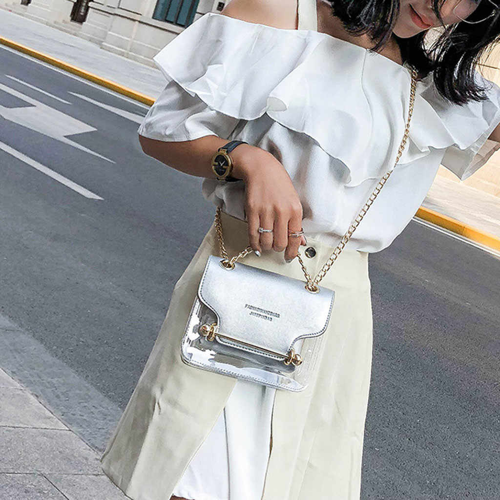 Luxo Alça de Embreagem Pequenas Bolsas Femininas Senhora Quadrado Transparente PVC Saco Saco Do Mensageiro Saco de Ombro + Carteira de Mão Bolsa de Compras