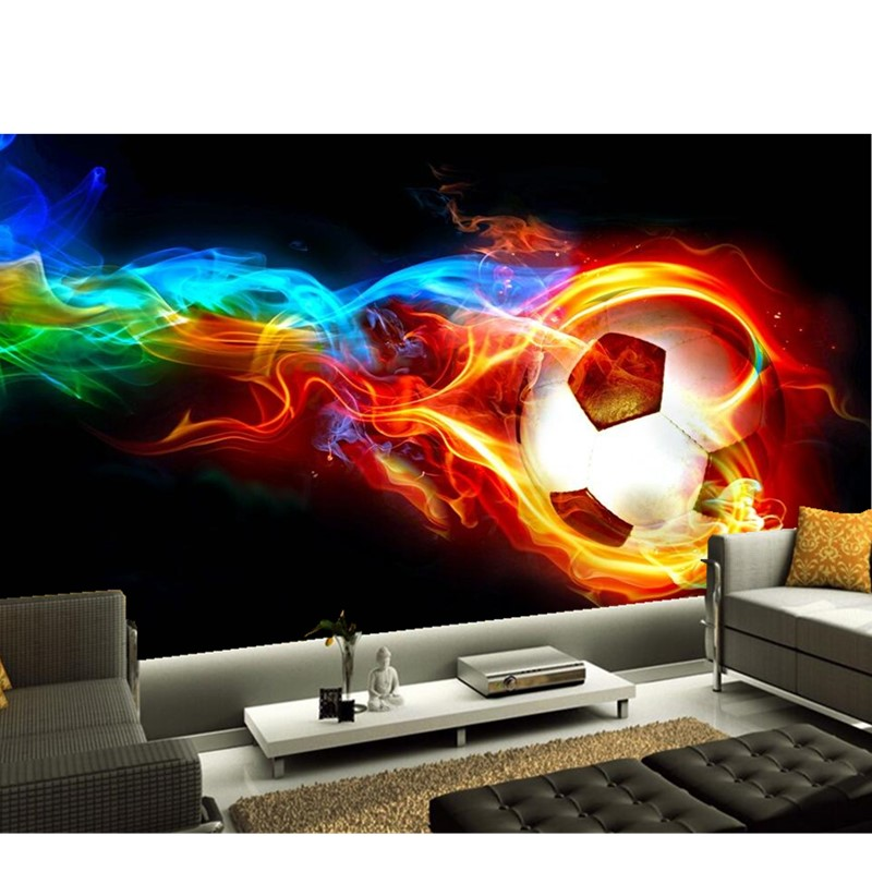Custom Modern 3D Wallpaper Mural For Living Room Sofa Bedroom Childrenu0027s  Room Background Wallpaper Football On Fire Wall Mural In Wallpapers From  Home ...