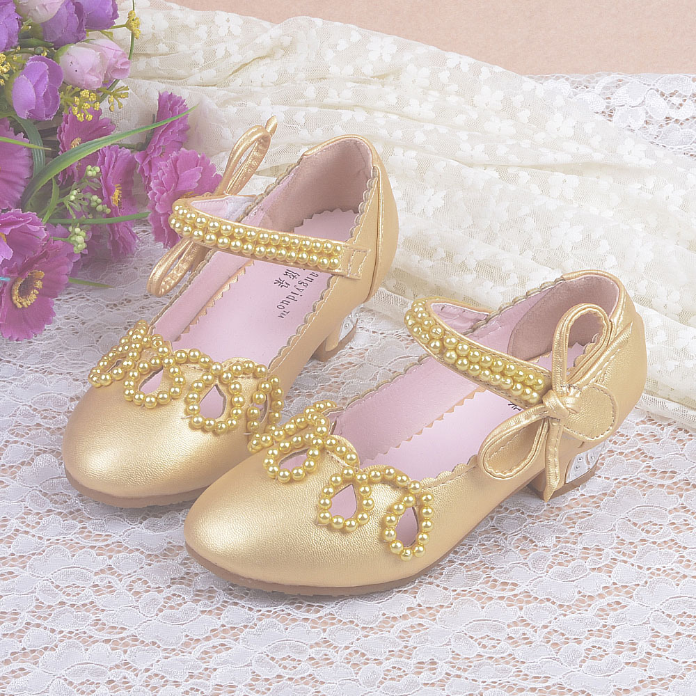 2018 New Children Girls Shoes Autumn Sandal High Heels Princess Sweet Sandals Beaded Pink Gold White Big Girls Shoes Party Gifts стоимость
