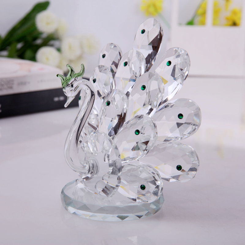Peacock Wedding Gifts: XINTOU Crystal Glass Peahen Home Feng Shui Decorations