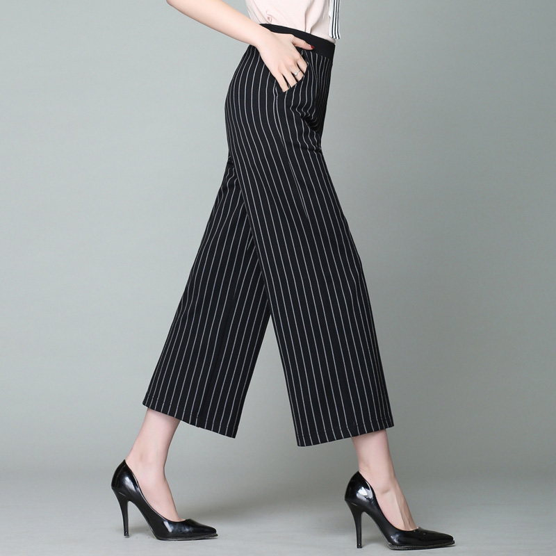 New striped wide leg pants women 2018 summer casual loose womens pants high waist ankle length pants womens trousers plus size