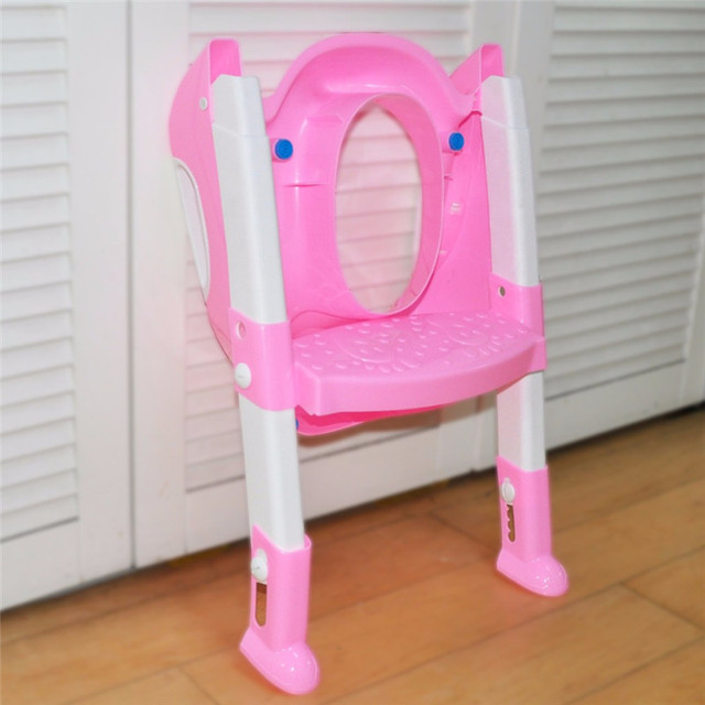 Baby Toddler Toilet Trainer Safety Seat Chair Step with Adjustable Ladder Non-slip Folding Seat