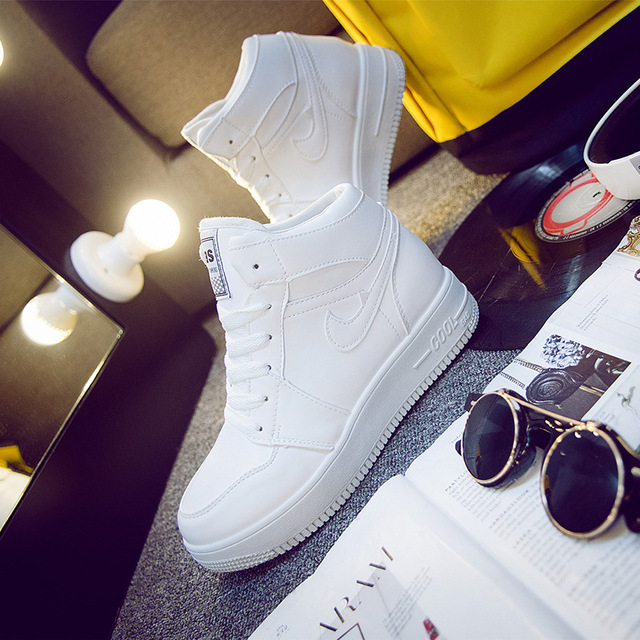 2016 Newest Classic All White Unisex Casual Shoes Footwear High Top Women Breathable Walking Shoes Plus Size Outdoor Shoes