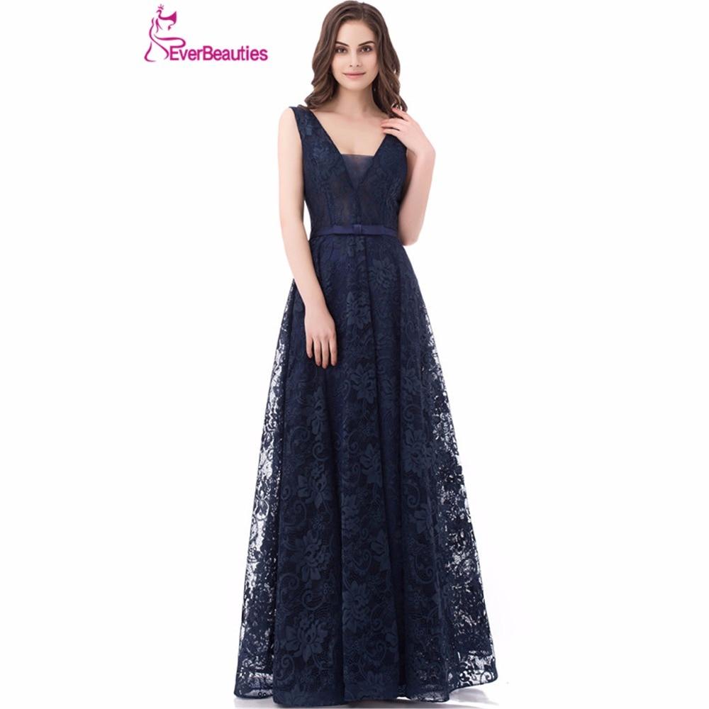 Navy Blue Lace Evening font b Dresses b font Long 2018 font b V b font