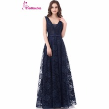 Navy Blue Lack V Neck Floor Length Backless Prom Dress