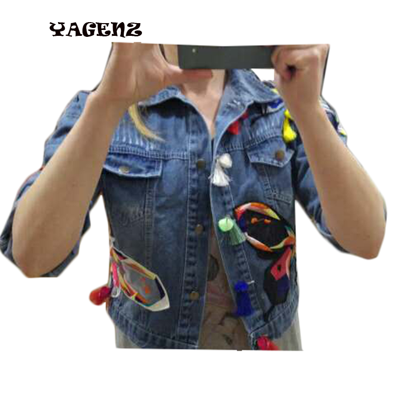 2017 Plus Size Women Autumn Denim   Jackets   Fashion Women Casual embroidery buds tassel butterfly Vintage Denim   Basic     Jackets   Coat
