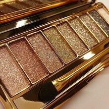 Nuevas mujeres 9 colores diamante brillante maquillaje colorido sombra de ojos súper maquillaje Flash ajustado Glitter Eyeshadow Palette con cepillo y espejo