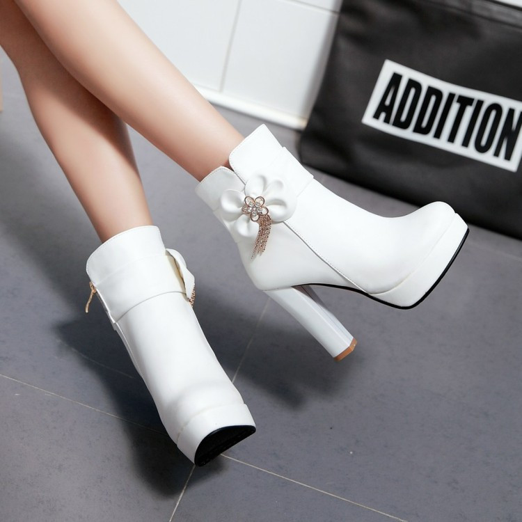 13_2016 Autumn Korean Womens Pink Dress Booties Shoes Princess Bow High Heels Black And White Platform Ankle Boots For Winter