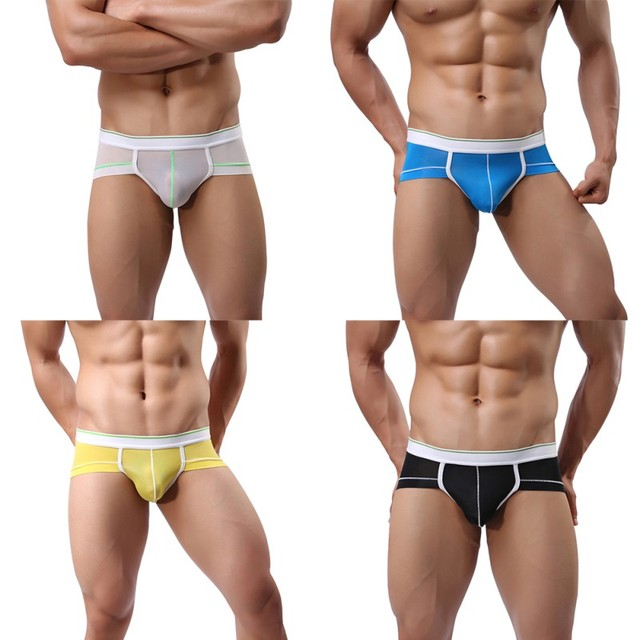 Sexy Penis Pump Translucent Briefs Male Underwear Thin Solid Shorts Soft Breathable U Convex Low Waist Underpants 2018