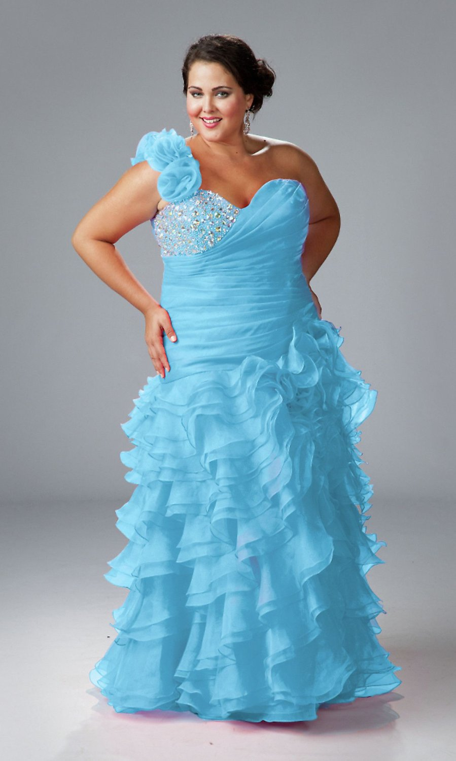 A-83 Plus Size Sexy One Shoulder Multi-layered Blue Prom Dress