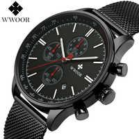 WWOOR Men Watch Luxury Brand Chronograph Date Military Army Sport Stainless Steel Mesh Quartz Mens Watches Male Clock Relogio