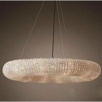 Ring American chandelier living room retro light luxury designer study soft villa bedroom bead string crystal lamp led lighting