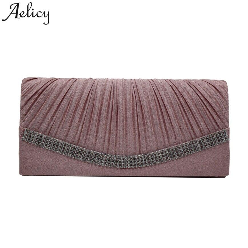 Aelicy Women Satin Rhinestone Pleated Evening Clutch Bag Ladies Day Clutch Purse Chain Handbag Bridal Wedding Party Bag стоимость