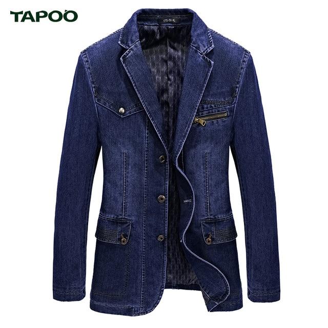 tapoo luxury brand design denim blazer jacket men casual spring