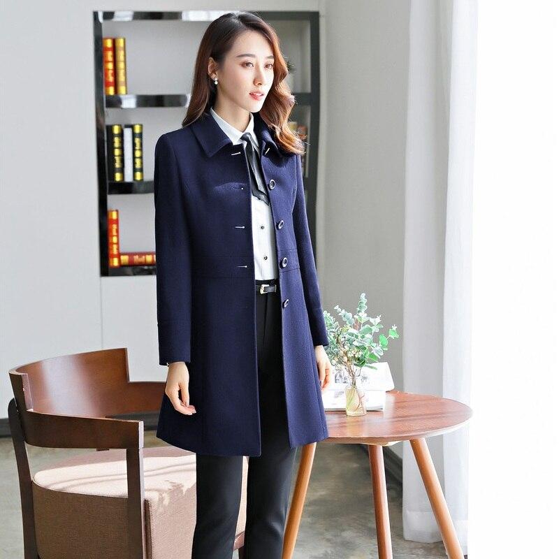 Vêtements Dames Mode Automne Noir D'hiver Femme Manteau Femmes 2019 marine Noir Long Bleu Survêtement Nouveau wqRxEY85Y