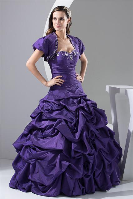 Um line querida vestido de baile com bolero beading tafetá 2017 vestidos quinceanera 15 anos vestidos de quinceanera roxo oq3389